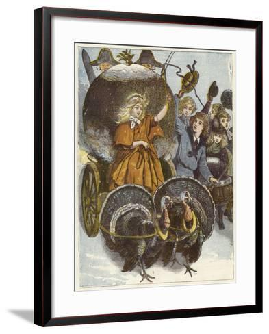 Girl and Chariot Being Pulled by Turkeys--Framed Art Print
