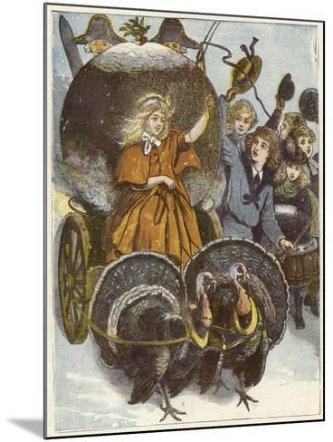 Girl and Chariot Being Pulled by Turkeys--Mounted Giclee Print