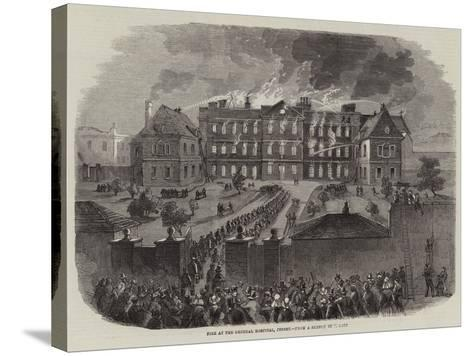 Fire at the General Hospital, Jersey--Stretched Canvas Print