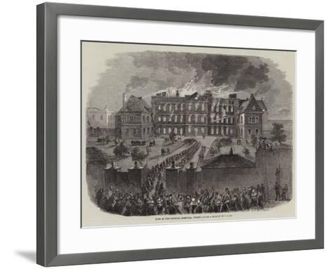 Fire at the General Hospital, Jersey--Framed Art Print