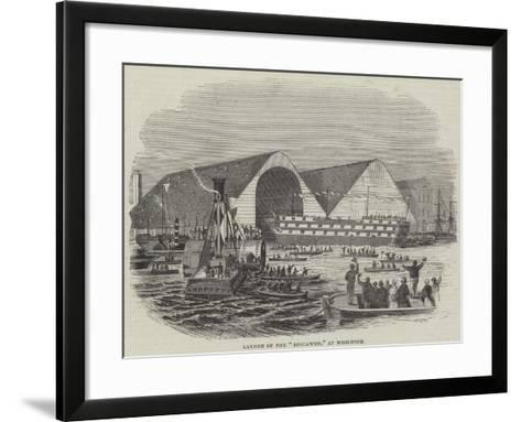 Launch of the Boscawen, at Woolwich--Framed Art Print