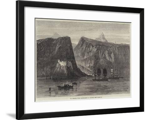 St Helena, with Troop-Ships at Anchor--Framed Art Print
