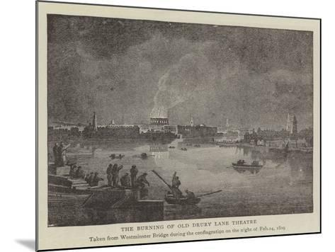 The Burning of Old Drury Lane Theatre--Mounted Giclee Print
