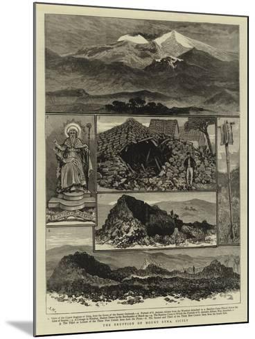 The Eruption of Mount Etna, Sicily--Mounted Giclee Print