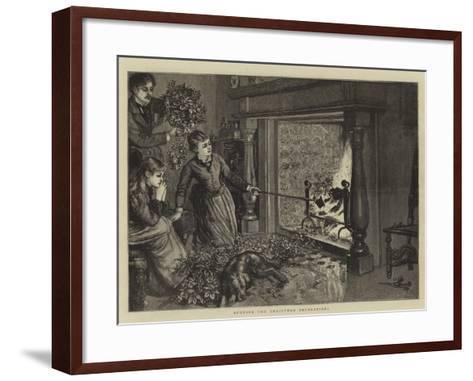 Burning the Christmas Decorations--Framed Art Print