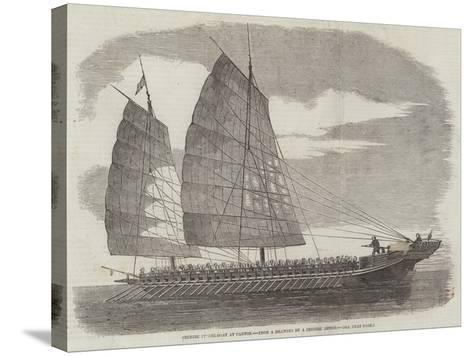 Chinese Pirate-Boat at Canton--Stretched Canvas Print