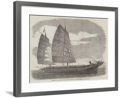 Chinese Pirate-Boat at Canton--Framed Art Print