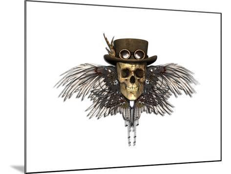 Steampunk Skull-AlienCat-Mounted Art Print