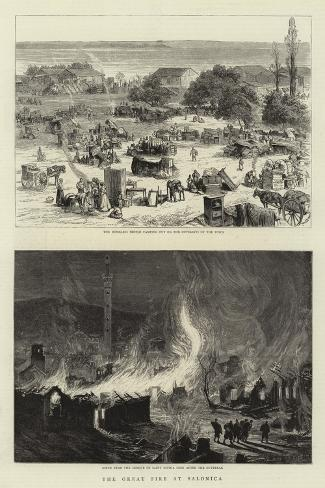 The Great Fire at Salonica--Stretched Canvas Print