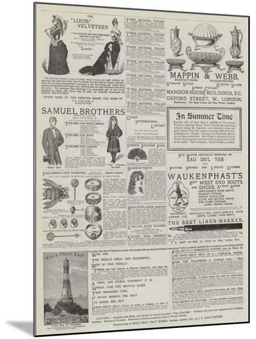 Page of Advertisements--Mounted Giclee Print