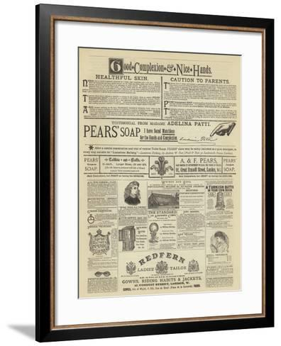 Page of Advertisement--Framed Art Print