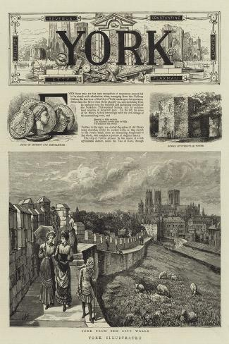 York Illustrated--Stretched Canvas Print