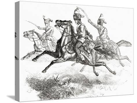 Charging Hussars or Hussards, from 'L'Univers Illustré', 1866--Stretched Canvas Print
