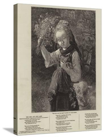 The Girl and the Lamb--Stretched Canvas Print