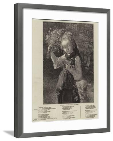 The Girl and the Lamb--Framed Art Print