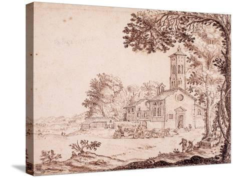 Landscape, Church and Coach--Stretched Canvas Print