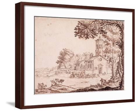Landscape, Church and Coach--Framed Art Print