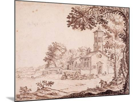 Landscape, Church and Coach--Mounted Giclee Print