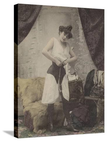 Girl Undoing Her Corset--Stretched Canvas Print