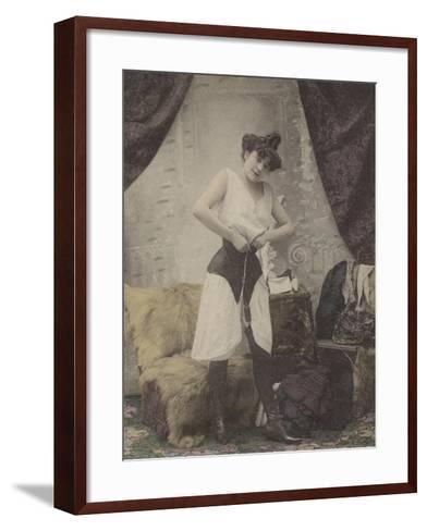 Girl Undoing Her Corset--Framed Art Print