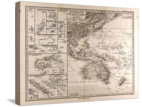 Map of Polynesia and Oceania, 1872--Stretched Canvas Print