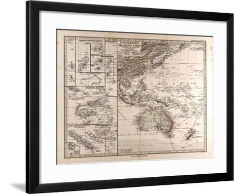 Map of Polynesia and Oceania, 1872--Framed Art Print