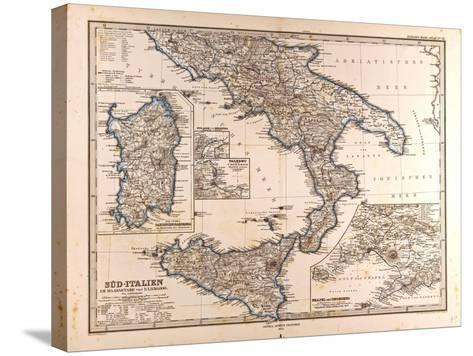 Map of South Italy, 1872--Stretched Canvas Print