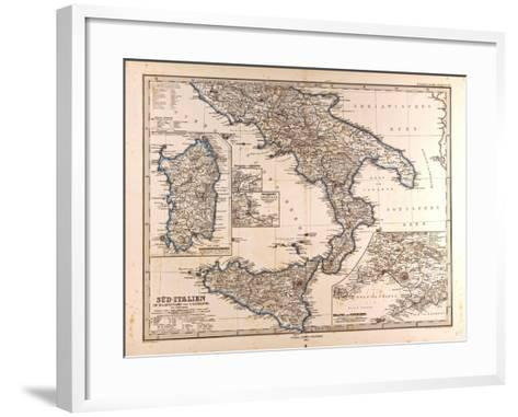 Map of South Italy, 1872--Framed Art Print