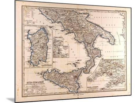 Map of South Italy, 1872--Mounted Giclee Print