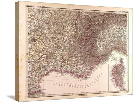 Map of France, 1874--Stretched Canvas Print