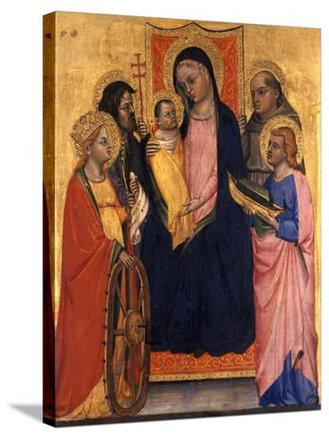 Enthroned Madonna and Child with Four Saints, C.1400--Stretched Canvas Print