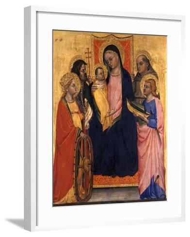 Enthroned Madonna and Child with Four Saints, C.1400--Framed Art Print