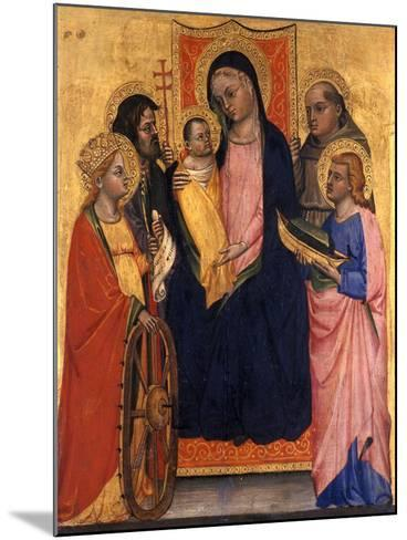 Enthroned Madonna and Child with Four Saints, C.1400--Mounted Giclee Print