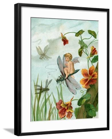 Winged Fairy Riding a Dragonfly Near Nasturtium Flowers, 1882--Framed Art Print