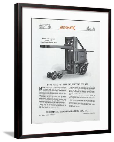 Automatic Transportation Company's Type Tlg 3-6 Tiering Lifting Truck--Framed Art Print