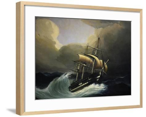 Vessel with Two Decks in Storm, 1858, Oil on Canvas by Cheri Dubreuil--Framed Art Print