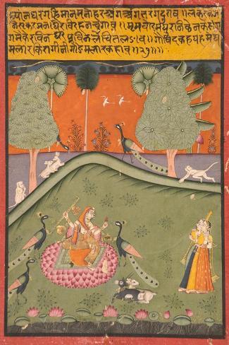 Gaurmalar Ragini of Megh, C.1720--Stretched Canvas Print
