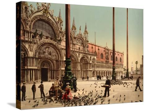 Pigeons in St. Mark's Place, Venice, Italy, C.1890-C.1900--Stretched Canvas Print
