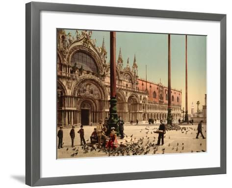 Pigeons in St. Mark's Place, Venice, Italy, C.1890-C.1900--Framed Art Print