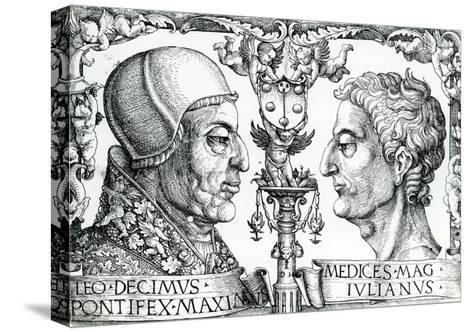Pope Leo X (1475-1521) and Emperor Julian (330-363), 1513--Stretched Canvas Print