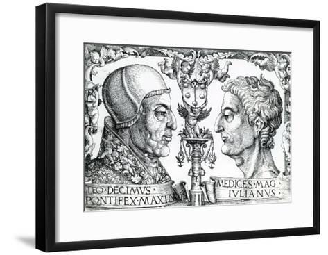 Pope Leo X (1475-1521) and Emperor Julian (330-363), 1513--Framed Art Print