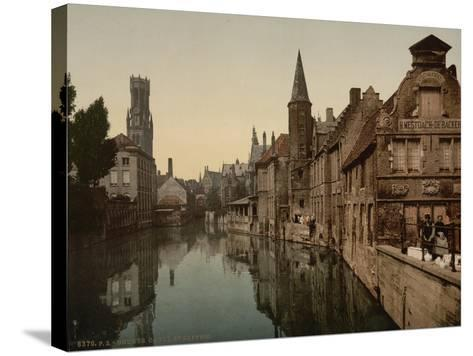 Canal and Belfry, Bruges, Belgium, C.1890-C.1900--Stretched Canvas Print