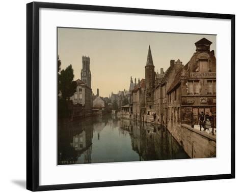 Canal and Belfry, Bruges, Belgium, C.1890-C.1900--Framed Art Print