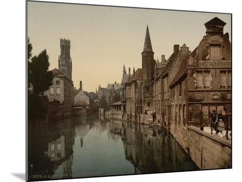 Canal and Belfry, Bruges, Belgium, C.1890-C.1900--Mounted Giclee Print