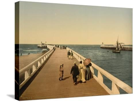 Entrance to Port, Ostend, Belgium; C.1890-C.1900--Stretched Canvas Print