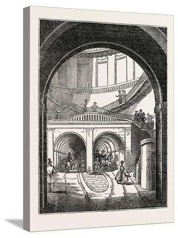The Thames Tunnel: the Rotherhithe Shaft, or Descent--Stretched Canvas Print