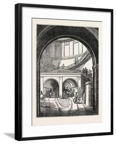 The Thames Tunnel: the Rotherhithe Shaft, or Descent--Framed Art Print