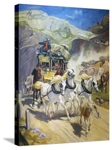 Gotthard Post Coach, by Rudolf Koller (1828-1905), 1956 Copy--Stretched Canvas Print
