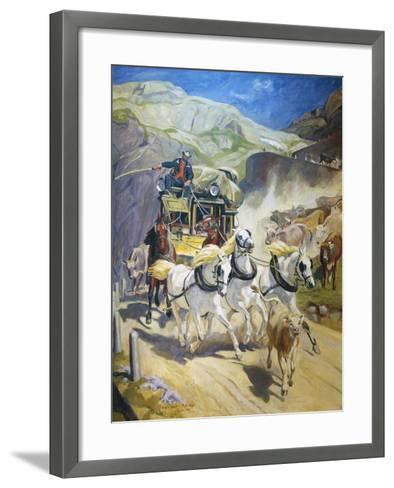 Gotthard Post Coach, by Rudolf Koller (1828-1905), 1956 Copy--Framed Art Print