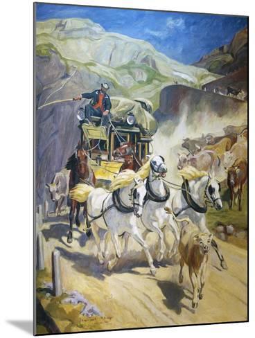 Gotthard Post Coach, by Rudolf Koller (1828-1905), 1956 Copy--Mounted Giclee Print